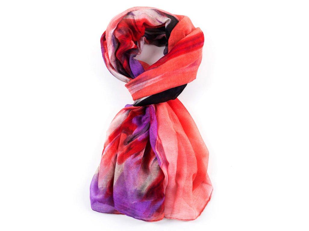 Dámský elegantní šátek s barevným motivem